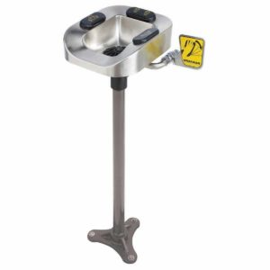 Speakman Optimus SE-1155 Stainless Steel Eye And Face Wash Bowl Pedestal Mount System with Hand & Foot Activation and Drench Hose